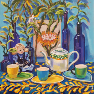 Tea Time with Blue Bottles