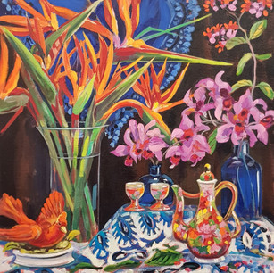Orchids, Strelitzia and a Treat