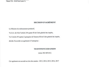 AGRÉMENT CRÉDIT D'IMPÔT INNOVATION