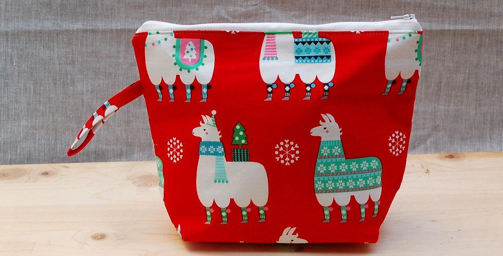 Medium project bag - christmas llamas