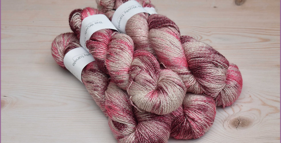 500g Cherry ripple - 4ply merino lurex sparkle yarn