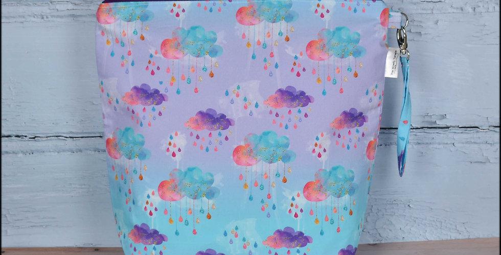 Large project bag - rainbow raindrops