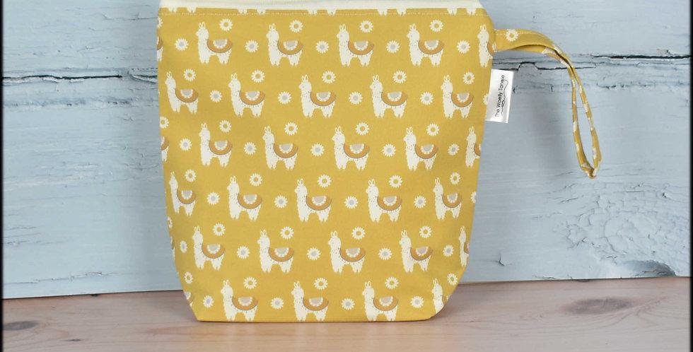 Sock project bag - mustard llamas