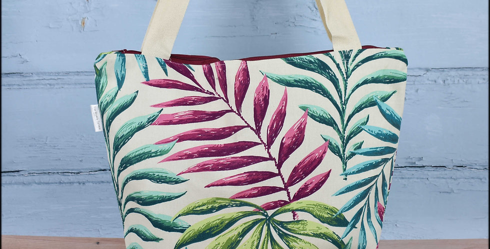 Extra large project bag - palm leaves