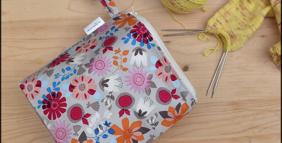 Sock project bag - bright floral