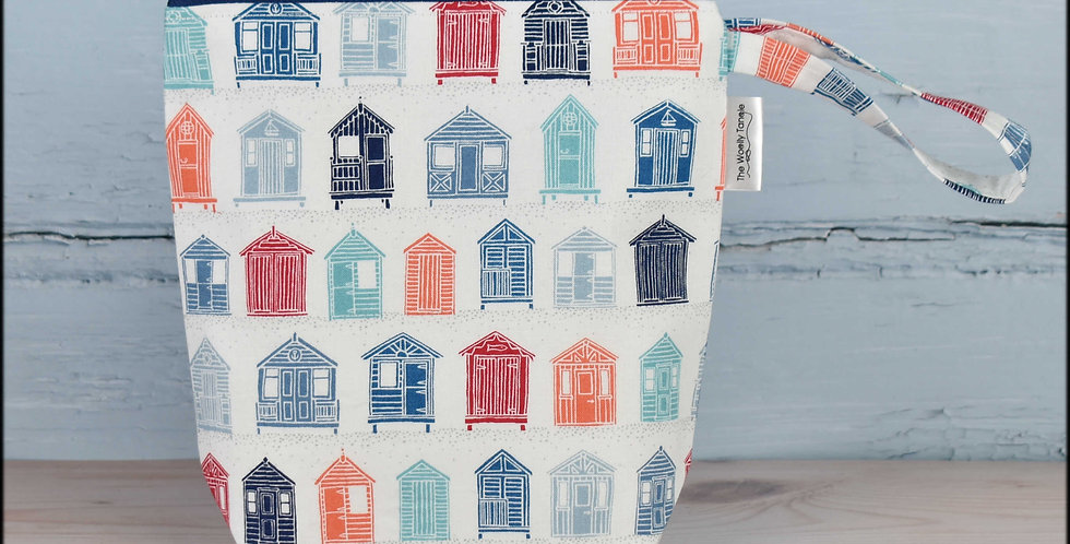 Sock project bag - beach huts