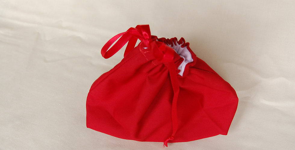 Clearance small drawstring project bag - red