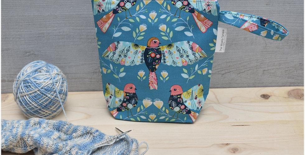 Sock project bag - bright bird