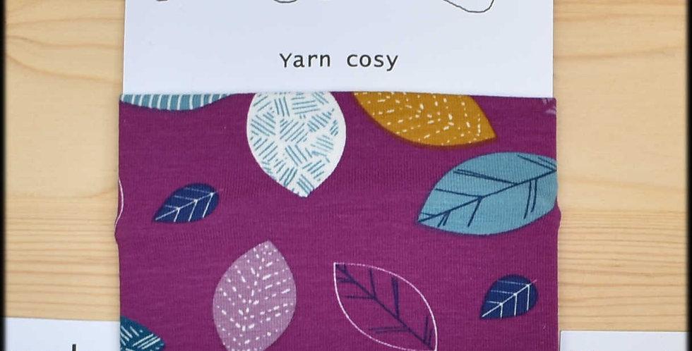Yarn cosy - purple leaves