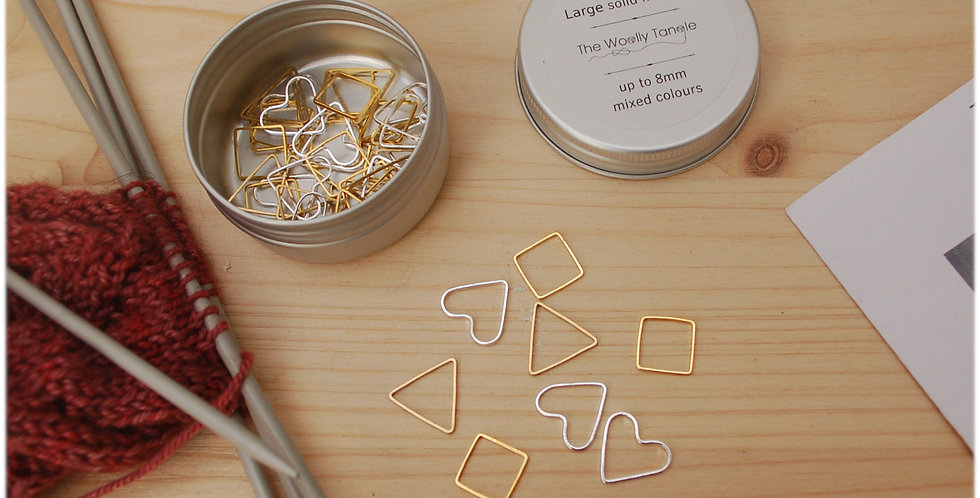 Tin of solid stitch markers - large cute