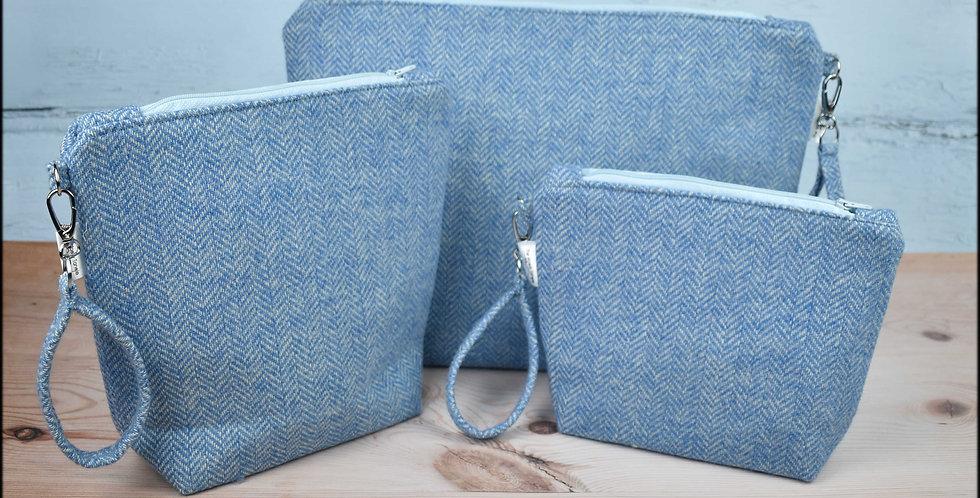 Welsh wool tweed project bags - sky blue
