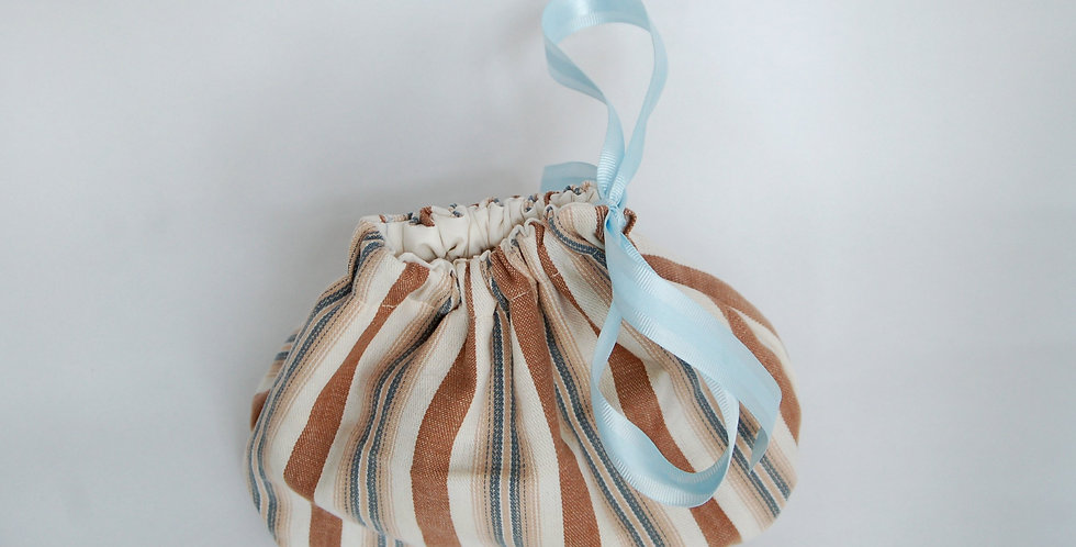 Clearance small drawstring project bag - striped cotton