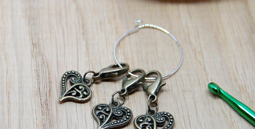 Removable crochet stitch markers - bronze hearts