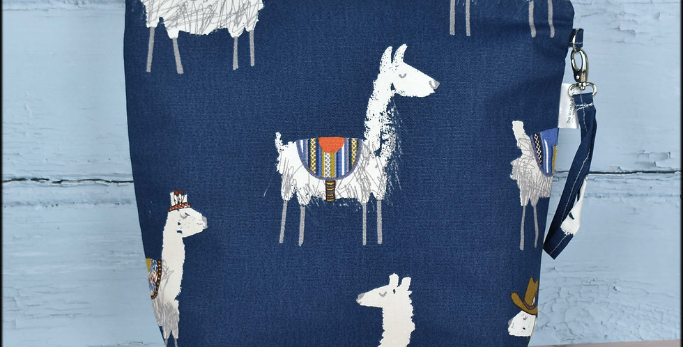 Large project bag - blue llamas