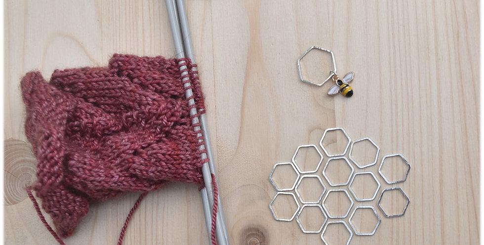 Honeybee stitch marker set silver