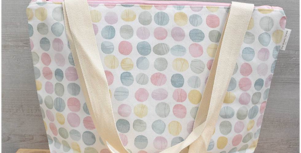 Extra large project bag - pastel spots