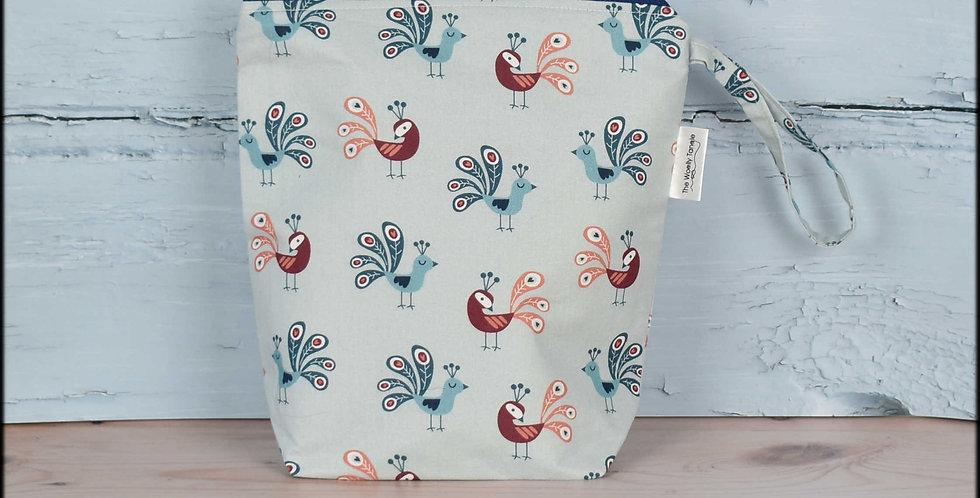 Sock project bag - peacocks