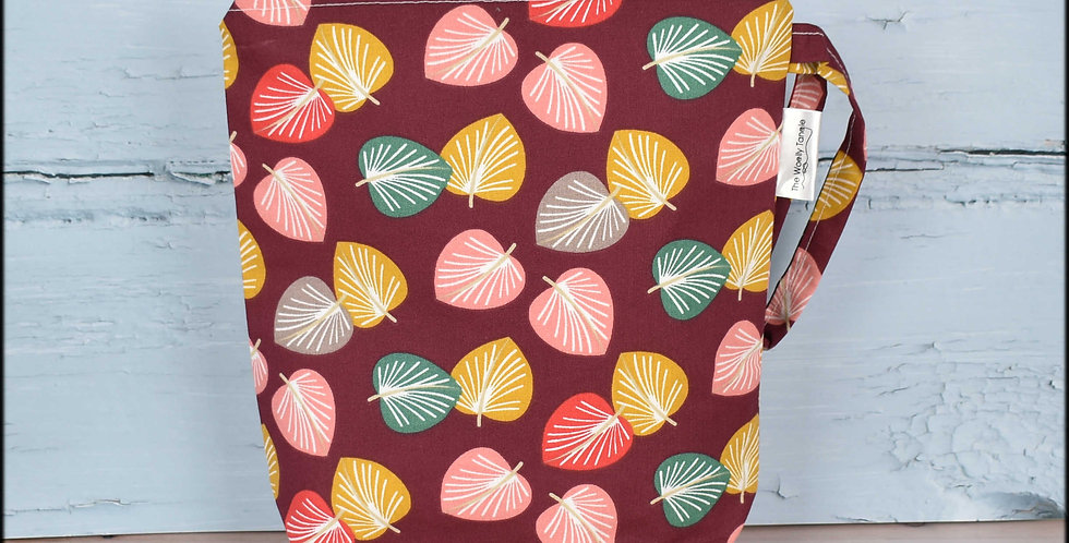 Sock project bag - burgendy leaves