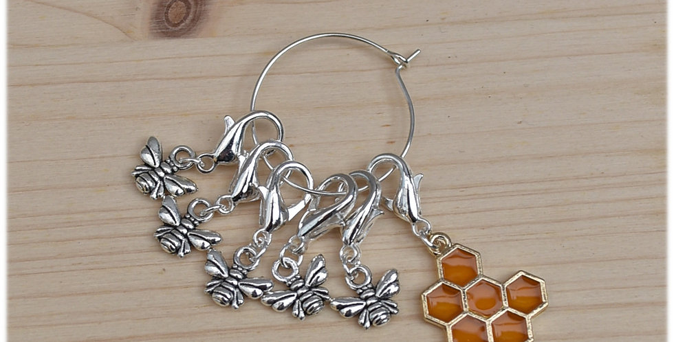 Removable crochet stitch markers - honeybees