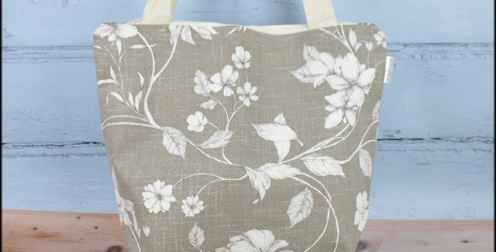 Extra large project bag - biscuit floral