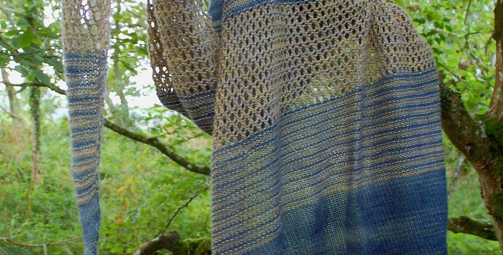 Broken light shawl kit in camel silk 4 ply