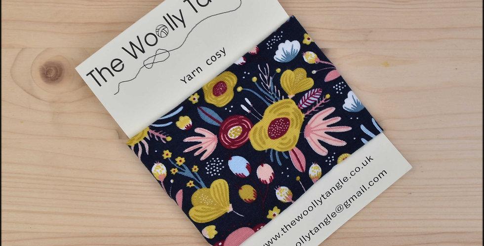 Yarn cosy - navy floral