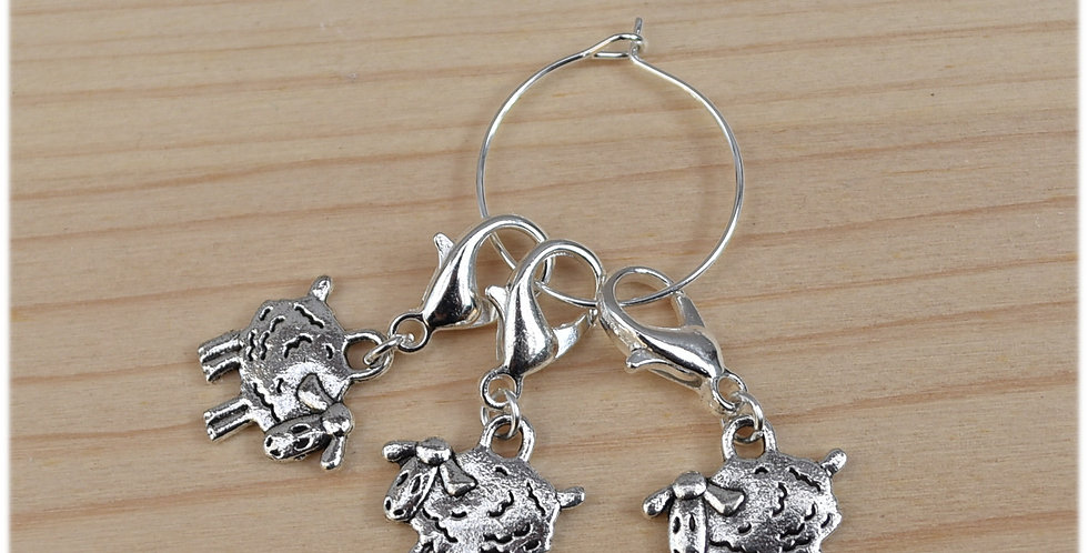 Removable crochet stitch markers -sheep