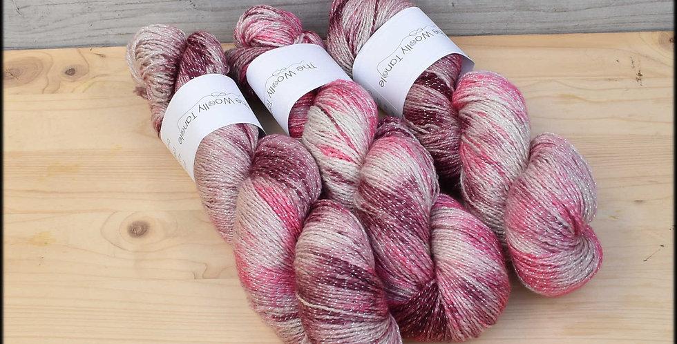 Cherry ripple - 4ply merino lurex sparkle yarn