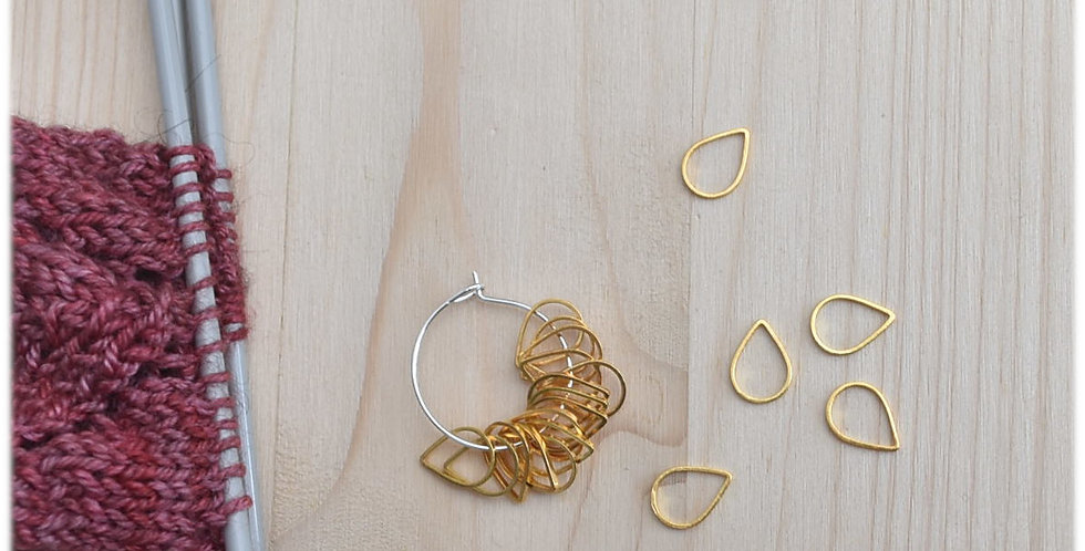 Small solid stitch markers - gold teardrop