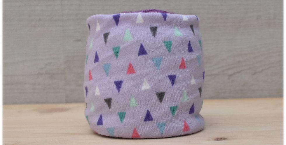 Yarn cosy - purple triangles