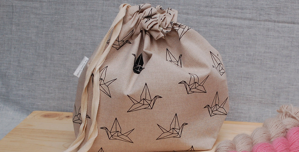 Large drawstring project bag - origami cranes