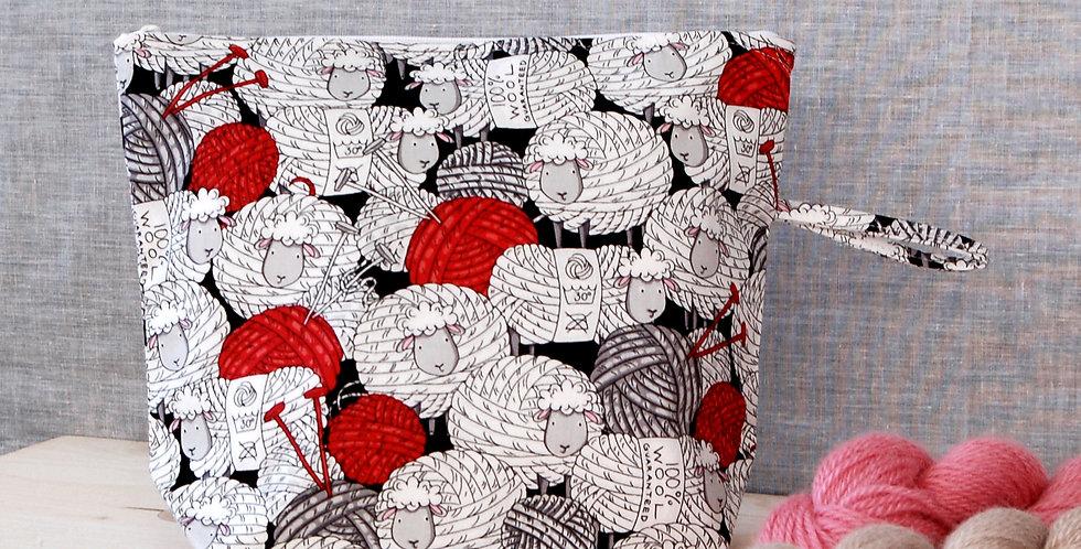 Medium project bag - sheep yarn balls