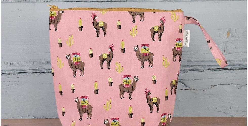 Medium project bag - pink llamas