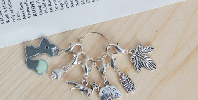 Removable crochet stitch markers - forest friends