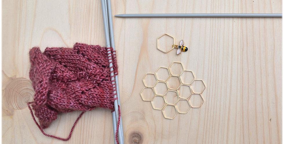 Knitting stitch markers - gold honeycomb set