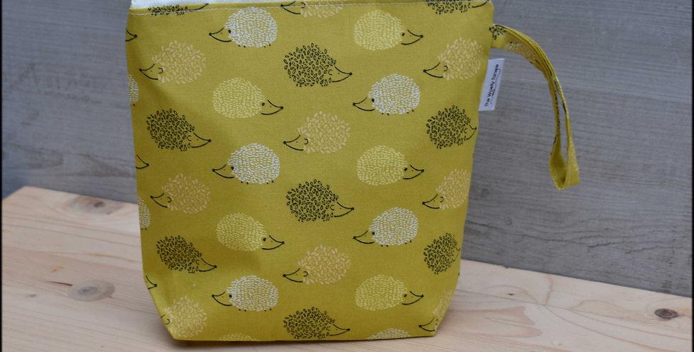Sock project bag - hedgehogs