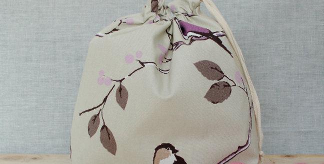 Large drawstring project bag - Birds