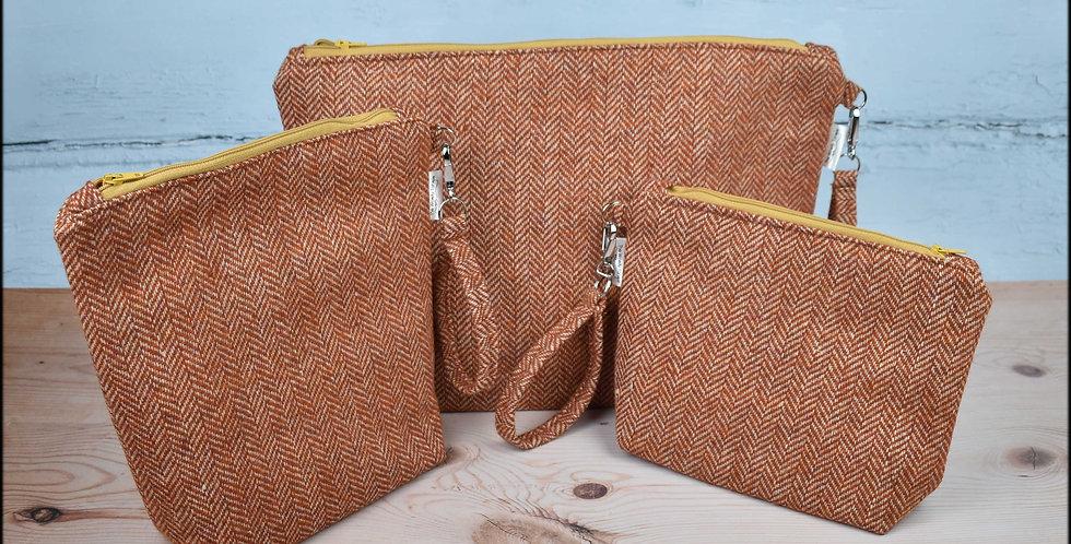 Welsh wool tweed project bags - pumpkin