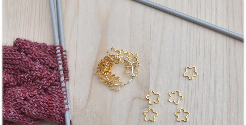 Small solid stitch markers - gold flowers