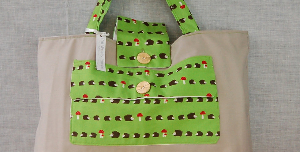 Clearance large project bag - hedgehogs