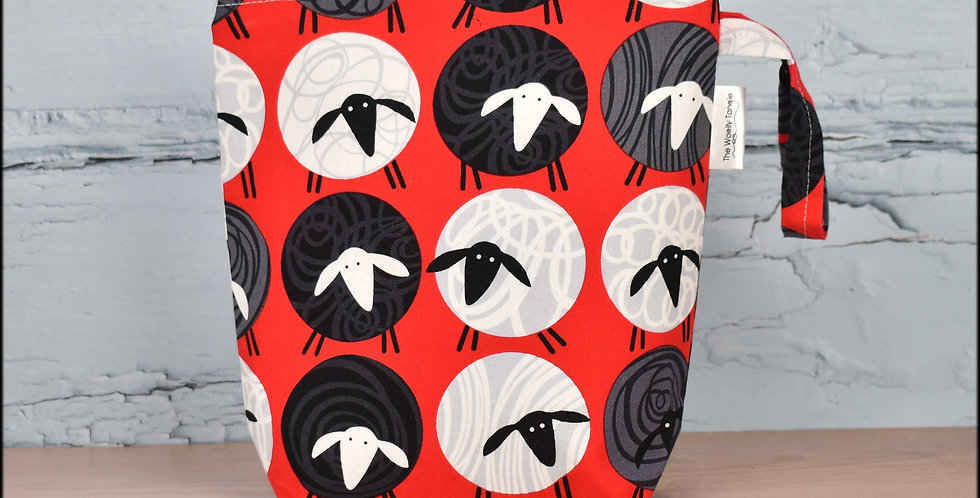 Sock project bag - red sheep balls