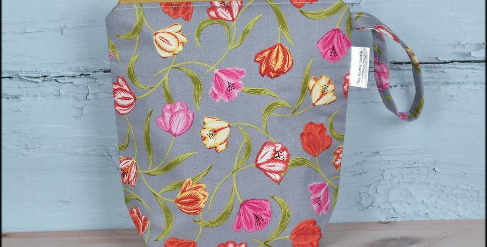 Sock project bag - tulips