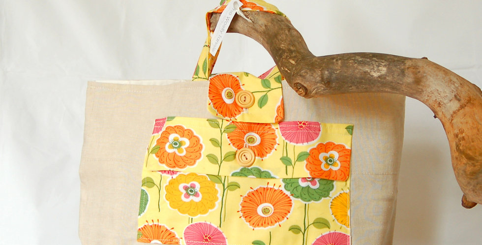 Clearance large project bag - yellow floral
