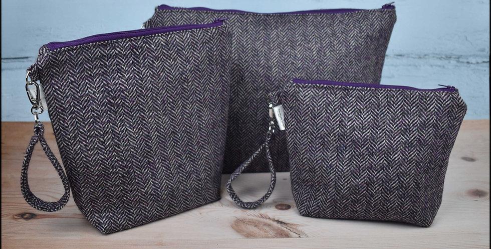 Welsh wool tweed project bags - purple