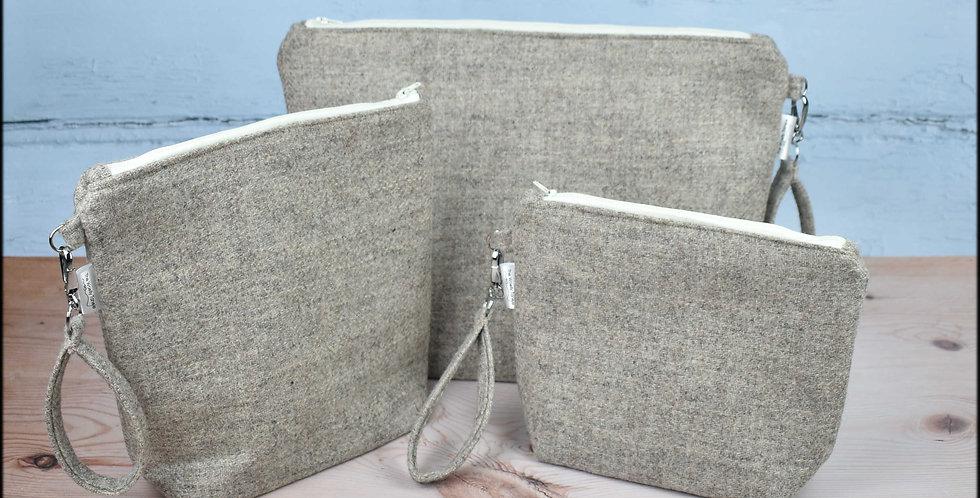 Welsh wool tweed project bags - cream