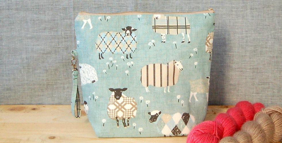 Medium project bag - blue sheep