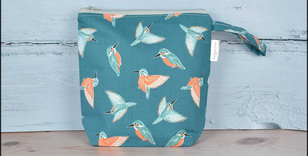 Sock project bag - kingfisher