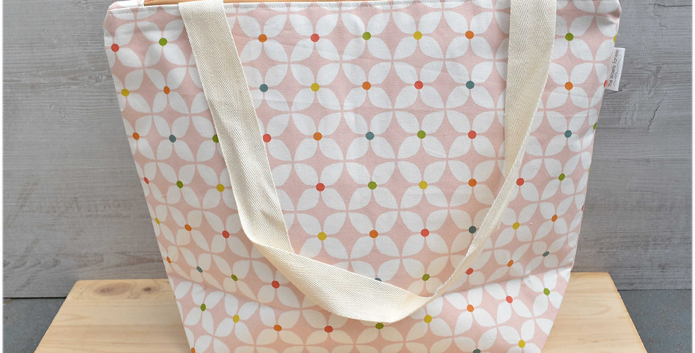 Extra large project bag - pink geometric