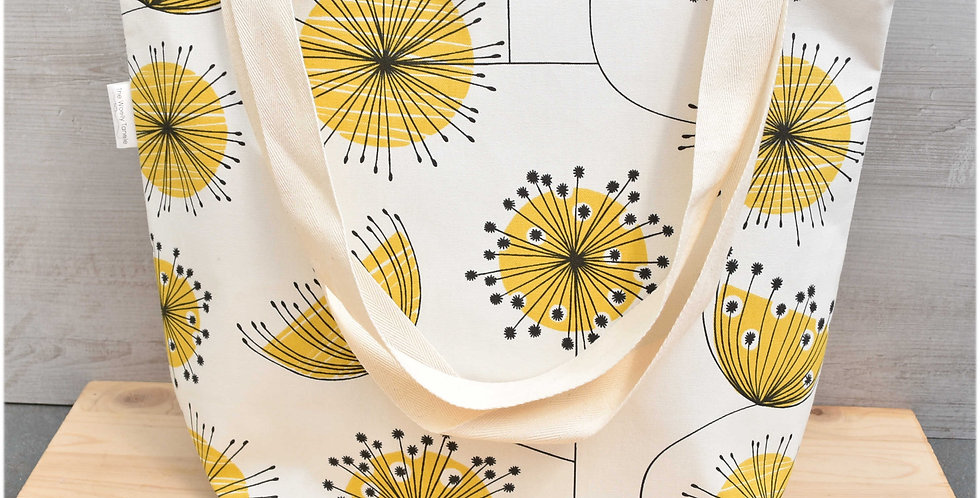 Extra large project bag - yellow floral