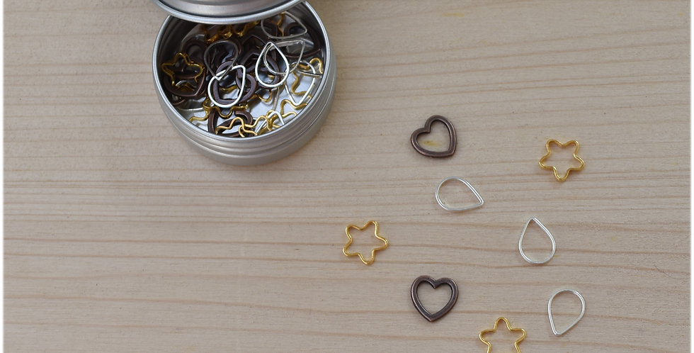 Tin of solid stitch markers - small cute